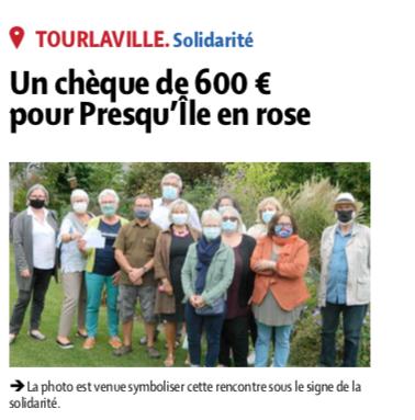 Un chèque de 600€ pour Presqu'Ile en Rose